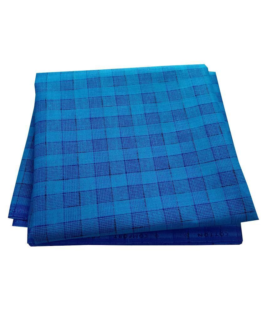 John Phillipe Blue Cotton Blend Unstitched Shirt pc