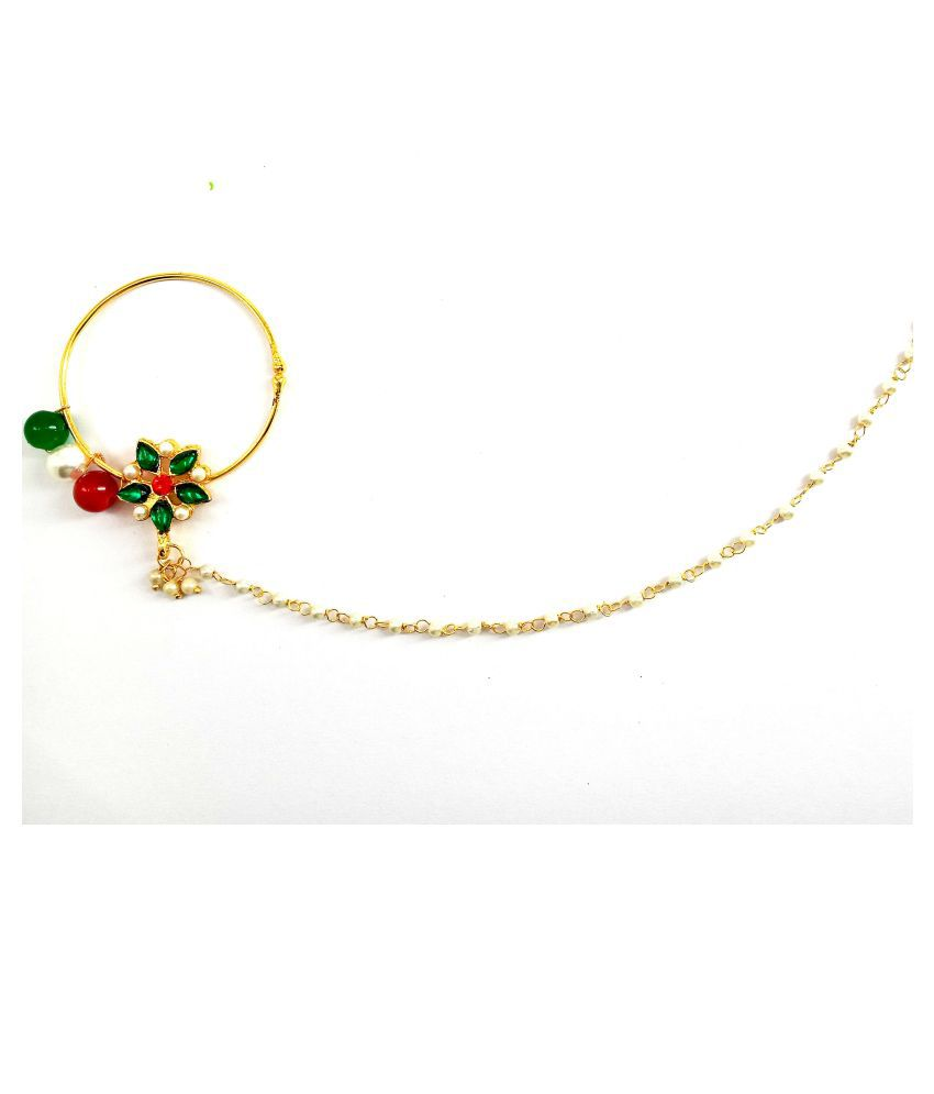 verma collection Gold-plated Plated Alloy Nose ring/ nath