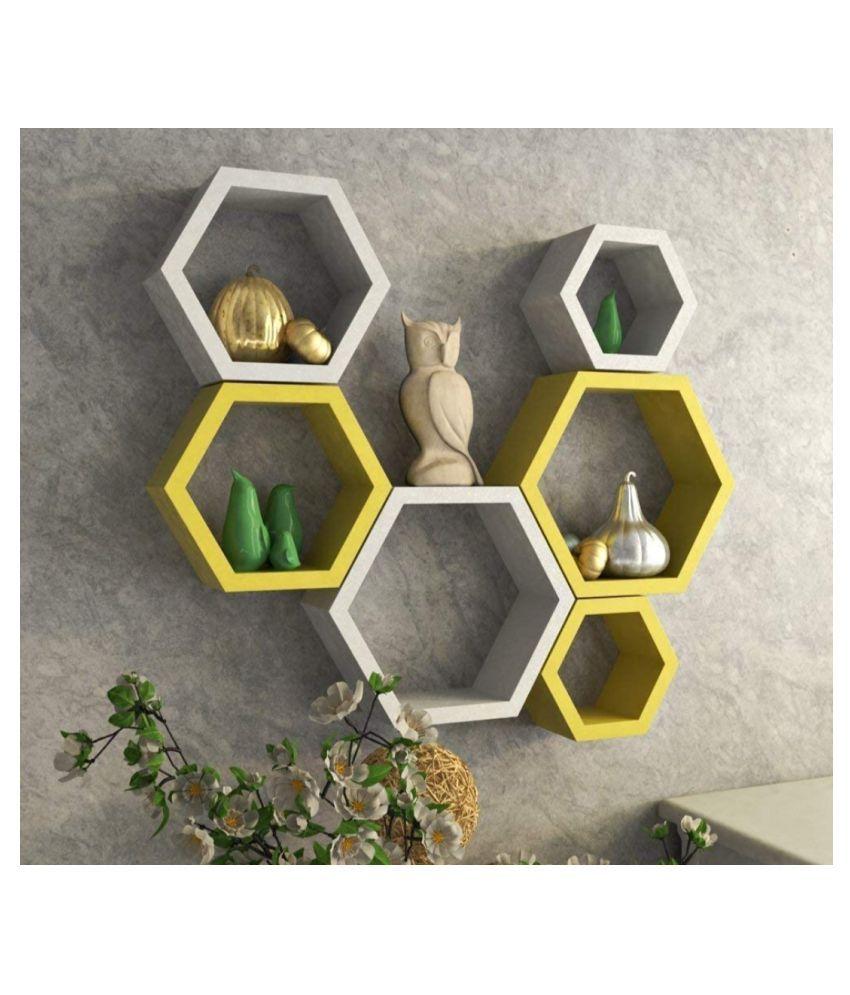 TFS Hexagon Shape Set of 6 Floating Wall Shelves/Wall Racks/MDF  Medium Density Fiber  Yellow White