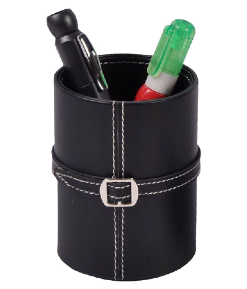 Leather Pen Pencil Holder Stand, Quality Stitching Border, Ideal Use at Office/Home/School/Study Table/Desk, Unique Design Case