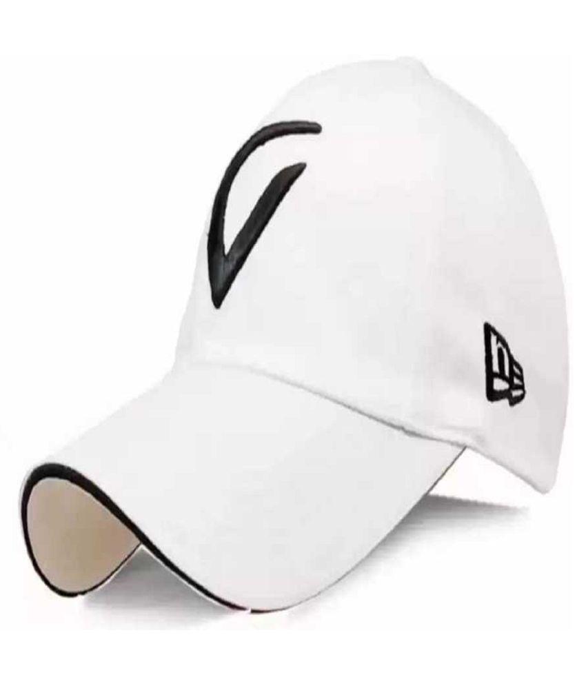 FAS White Embroidered Cotton Caps