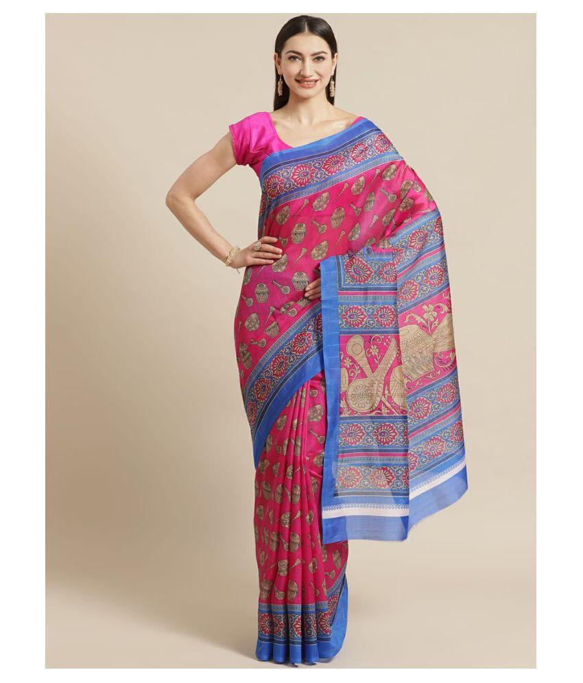 Prisha Grow Pink Bhagalpuri Cotton Saree -
