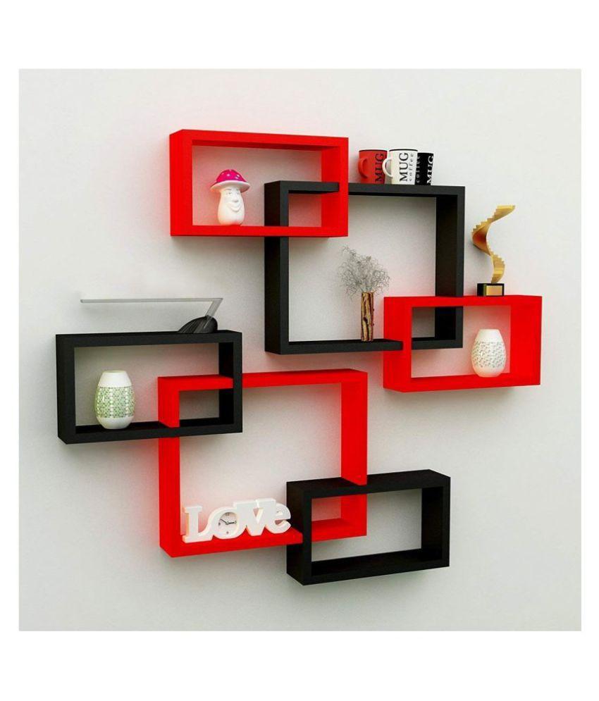 Samrah MDF Rectangular Intersecting Wall Mounted Rack Shelf Set of 6  Red  amp; Black, Standard