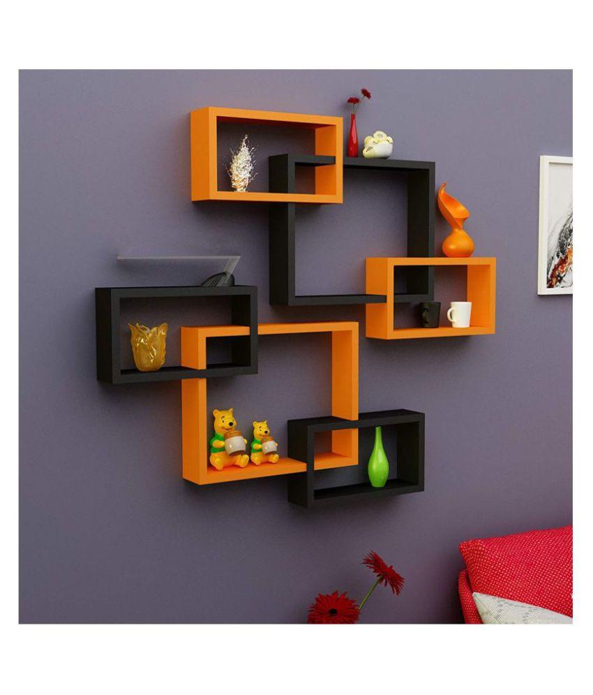 Samrah MDF Rectangular Intersecting Wall Mounted Rack Shelf Set of 6 (Orange & Black, Standard)