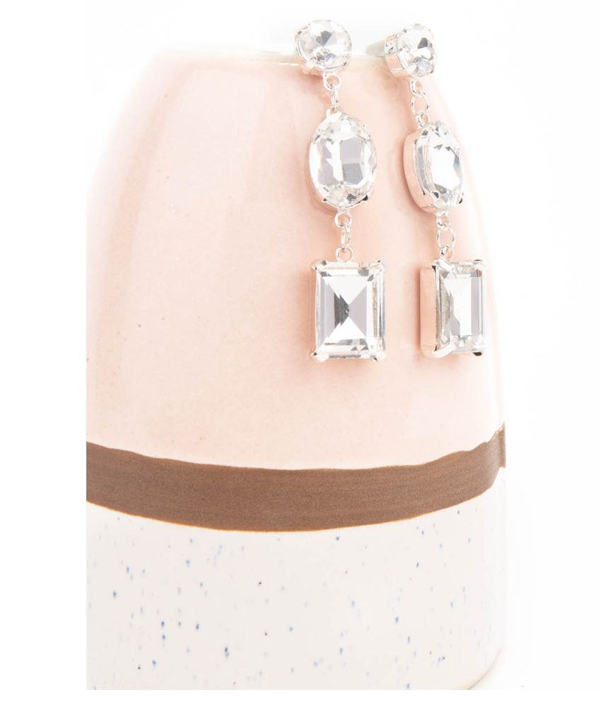 Lilly & Sparkle Alloy Silver Toned Glass Stone Studded Drop Earrings For Women