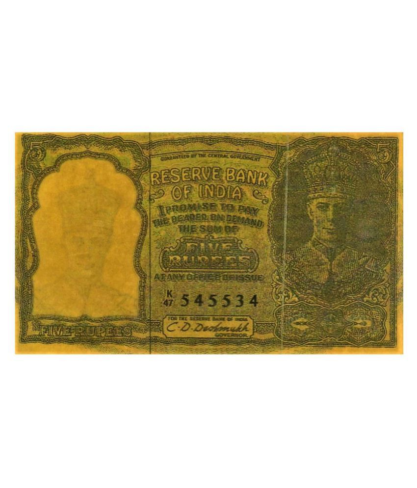 NUMISMATECELLY RARE AND COLLECTIBLE  N0TE FIVE RUPEES   REPLICA  OR FENCY  N0TE THIS IS NOT REAL C.U.R.R.E.N.C.Y.  ,R..B..I ,KING GEORGE-VITH BACK SIDE FIVE DEER PHOTO PHOTO ONLY FOR COMPLETE COLLECTION AND SCHOOL EXHIBITIONS