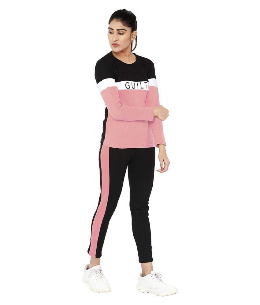 Shoppersmart Peach Cotton Self Design Tracksuit - Single