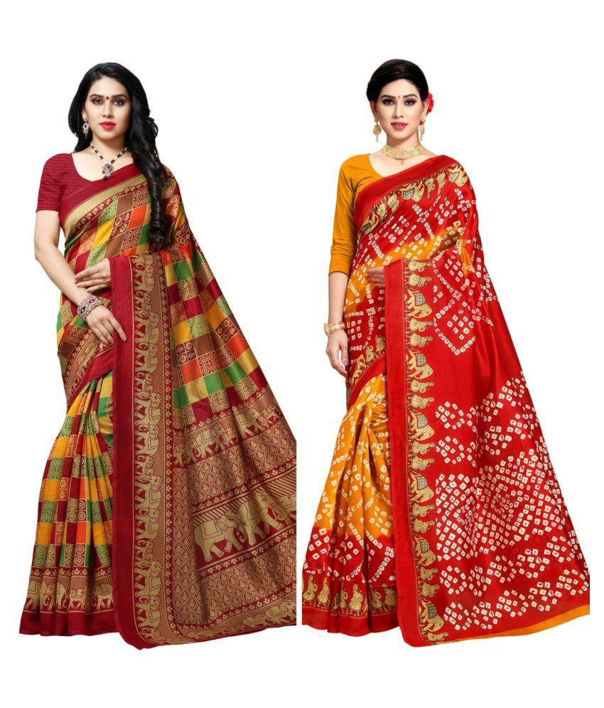 Alexplum Maroon,Yellow,Green,Red Bhagalpuri Silk Saree -