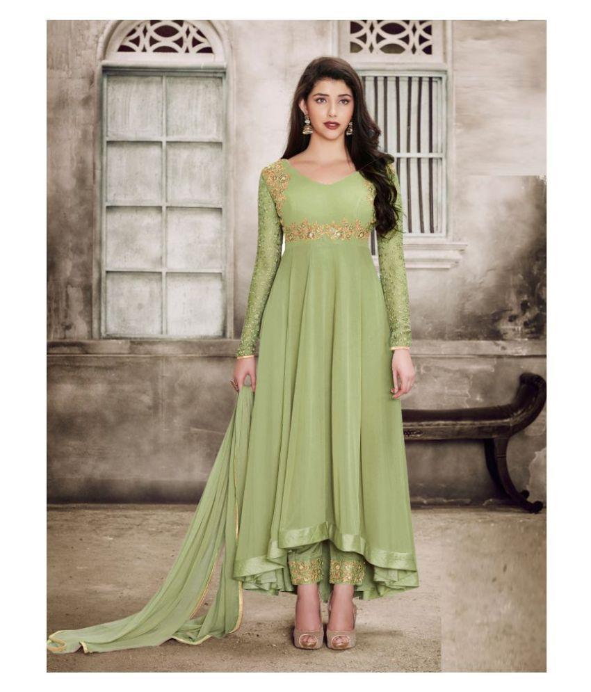 RAJESH TEX Green Georgette Anarkali Semi-Stitched Suit - Single