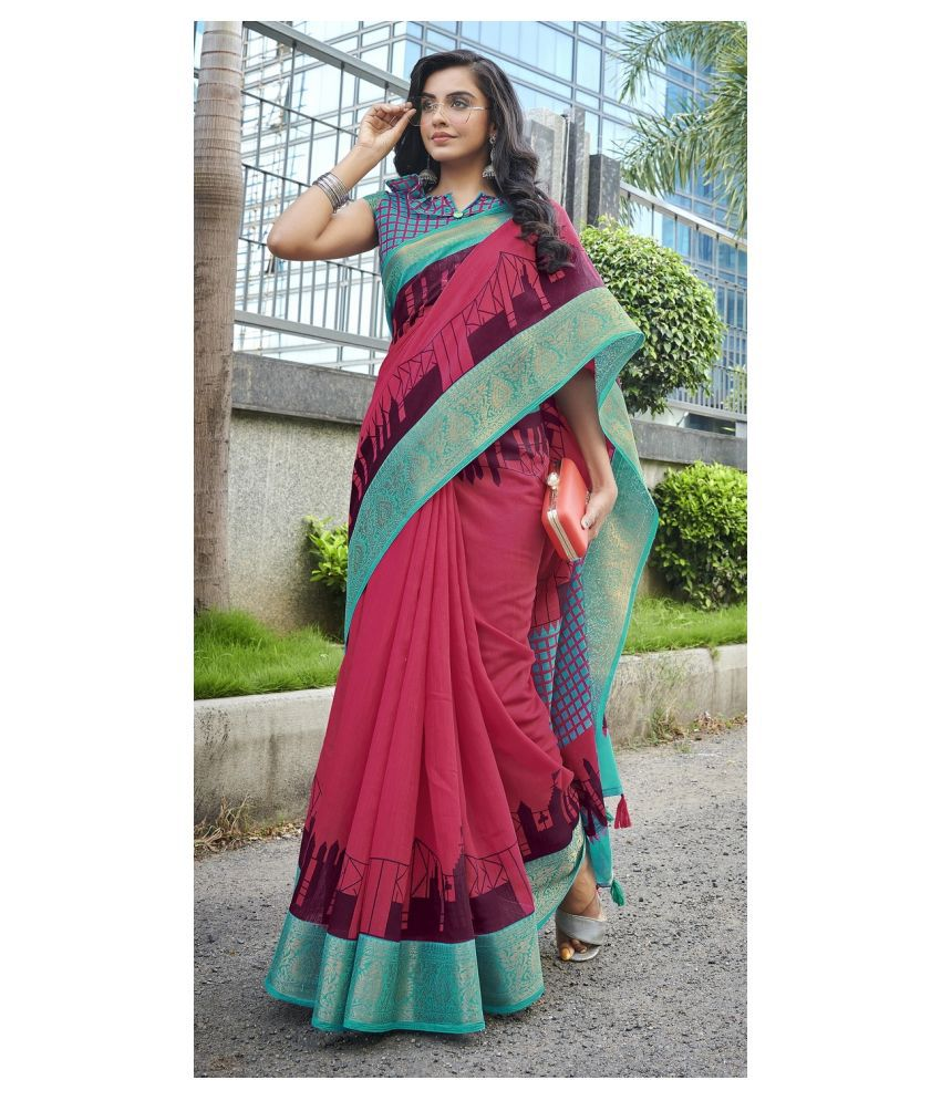 Triveni Pink Cotton Saree - Single