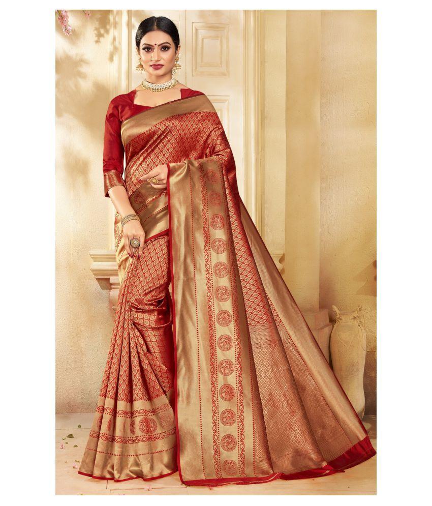Triveni Red Art Silk Saree - Single