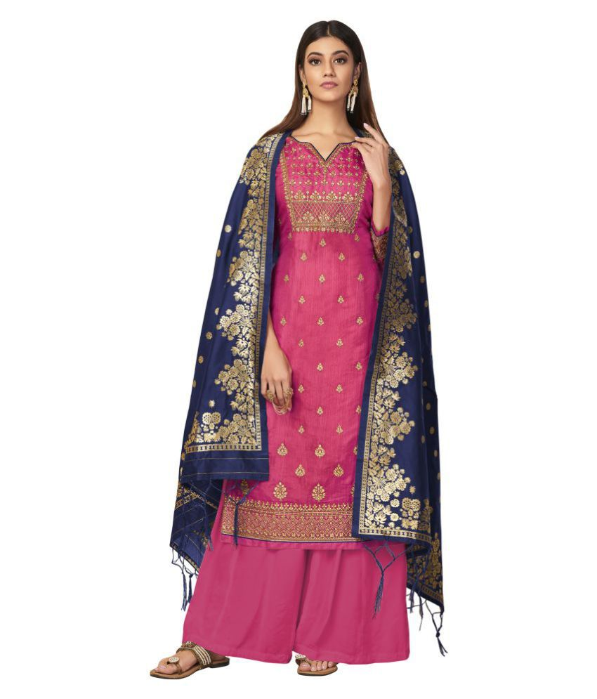 VUBA Pink Tussar Silk Straight Semi-Stitched Suit - Single