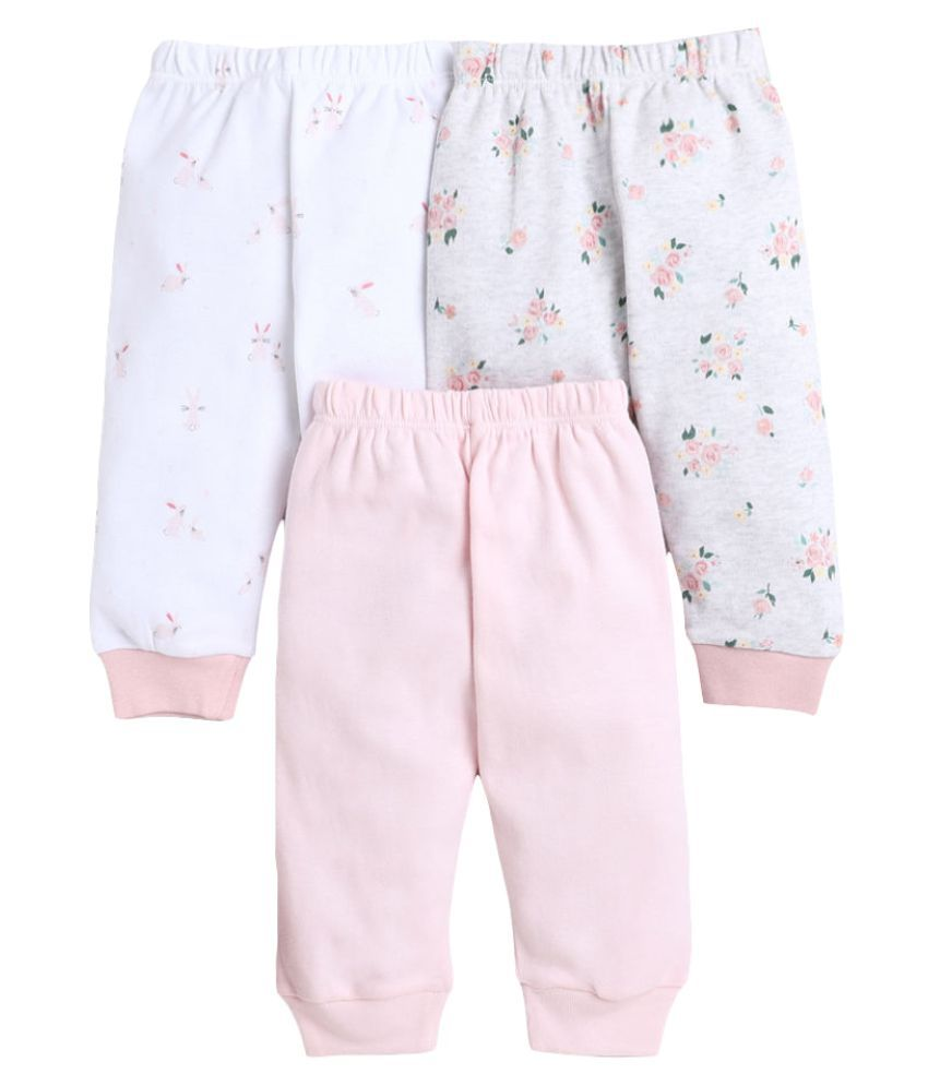 Hopscotch Baby Girl Cotton Joggers With Rib Pack of 3 in  Color For Ages 18-24 Months (BNC-3693435)