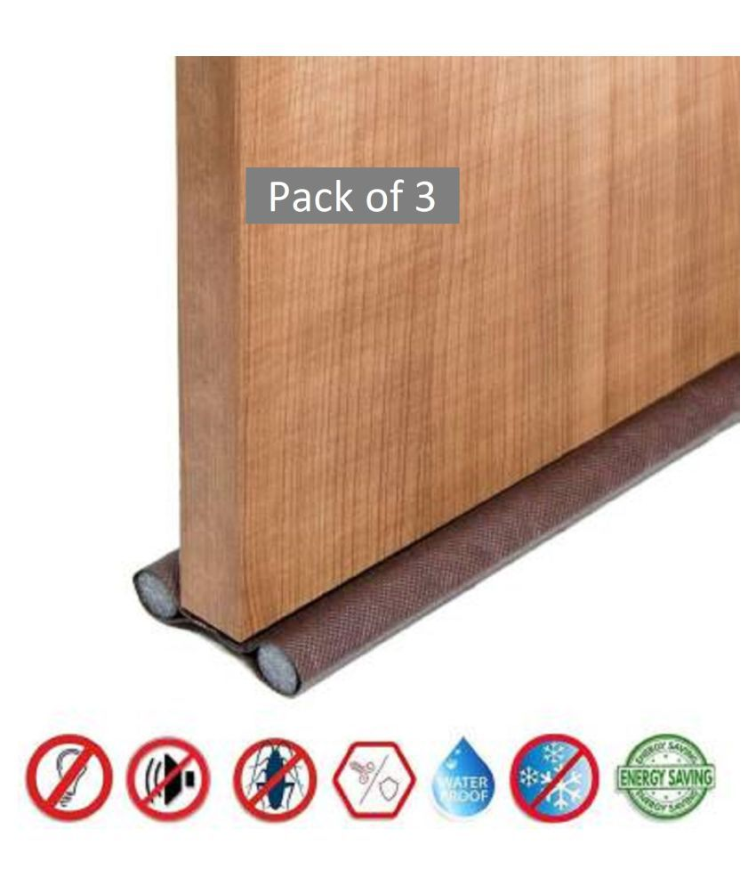 PVC Sound-Proof Reduce Noise Energy Saving Weather Stripping Under Door Twin Draft Stopper (36 inch, Brown) (Pack of 3)