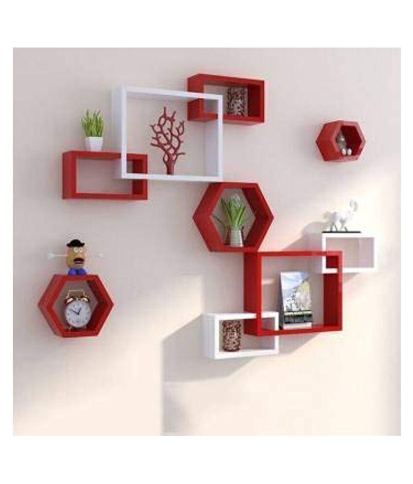 Clover Crafts™ Floating Rectangular Intersecting Wall Mounted Shelf Rack Set of 6 & Hexagonal Home & Wall Decor Wall Shelf Set of 3 (Red & White)