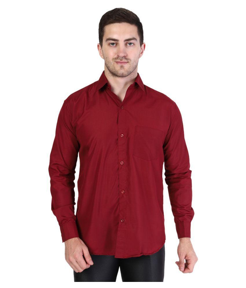 JUST MEN EXCHANGE Cotton Blend Maroon Solids Formal Shirt