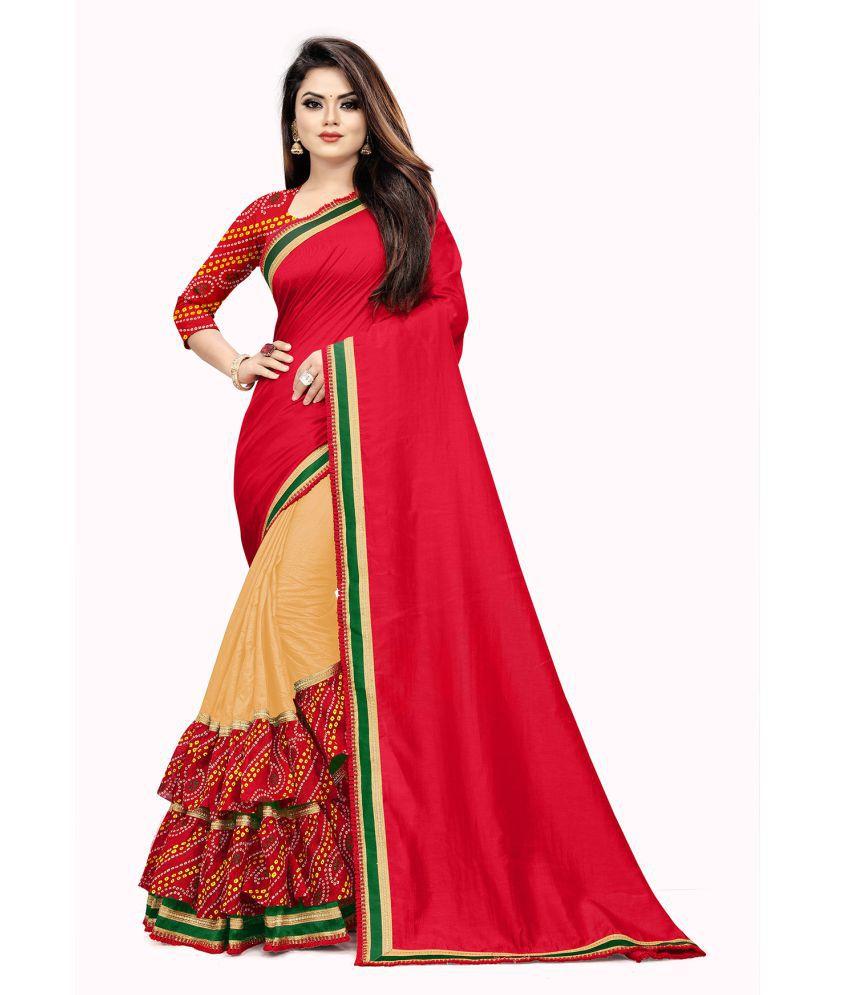C&H Beige Vichitra Silk Saree - Single