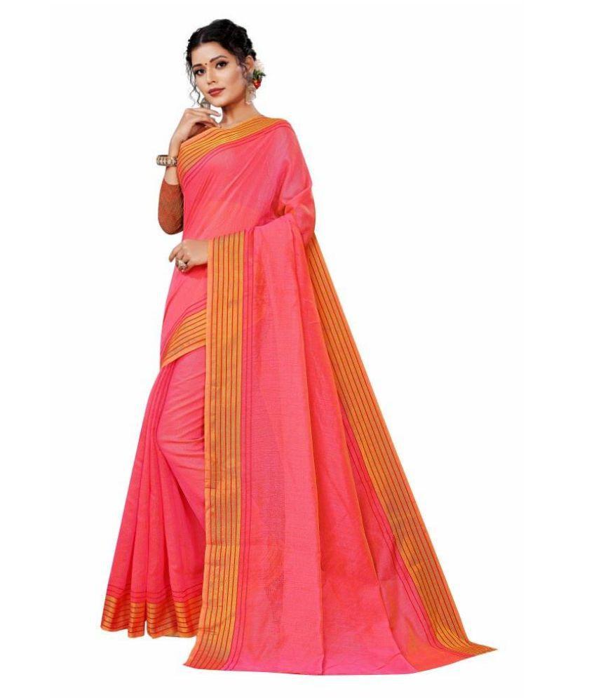 Rangkruti Pink Cotton Saree - Single