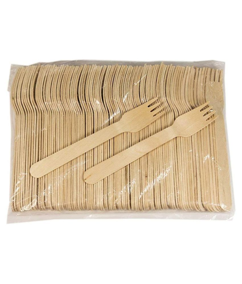 Wooden fork 14 cm Pack of 100 Bio-Degradable Disposable Spoons, PYRAMID Wooden Fork
