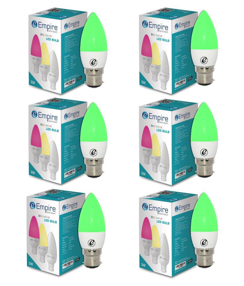 EMPIRE ELECTROTECH 3W LED Bulbs Cool Day Light - Pack of 6