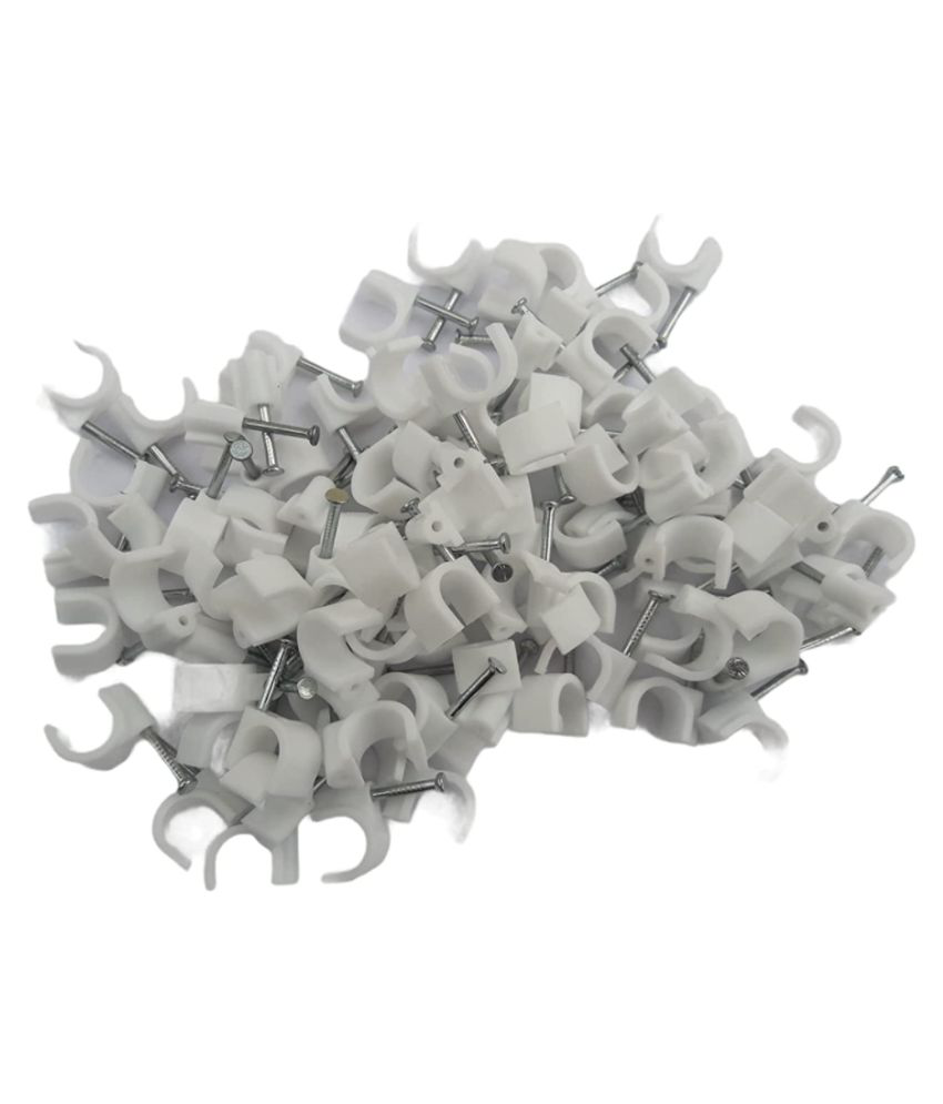 CTCO High Grip 6 mm, Diameter Wire Fastener Circle Cable Clips with Metal Nail -100 Pieces