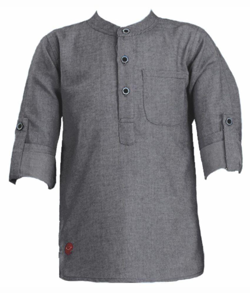 Kooka kids Full Sleeves Solid Kurta - Grey