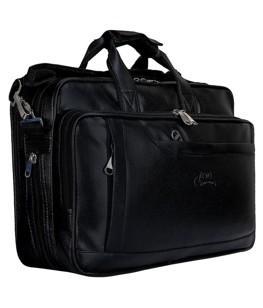 Leather World Laptop Messenger Black P.U. Office Bag