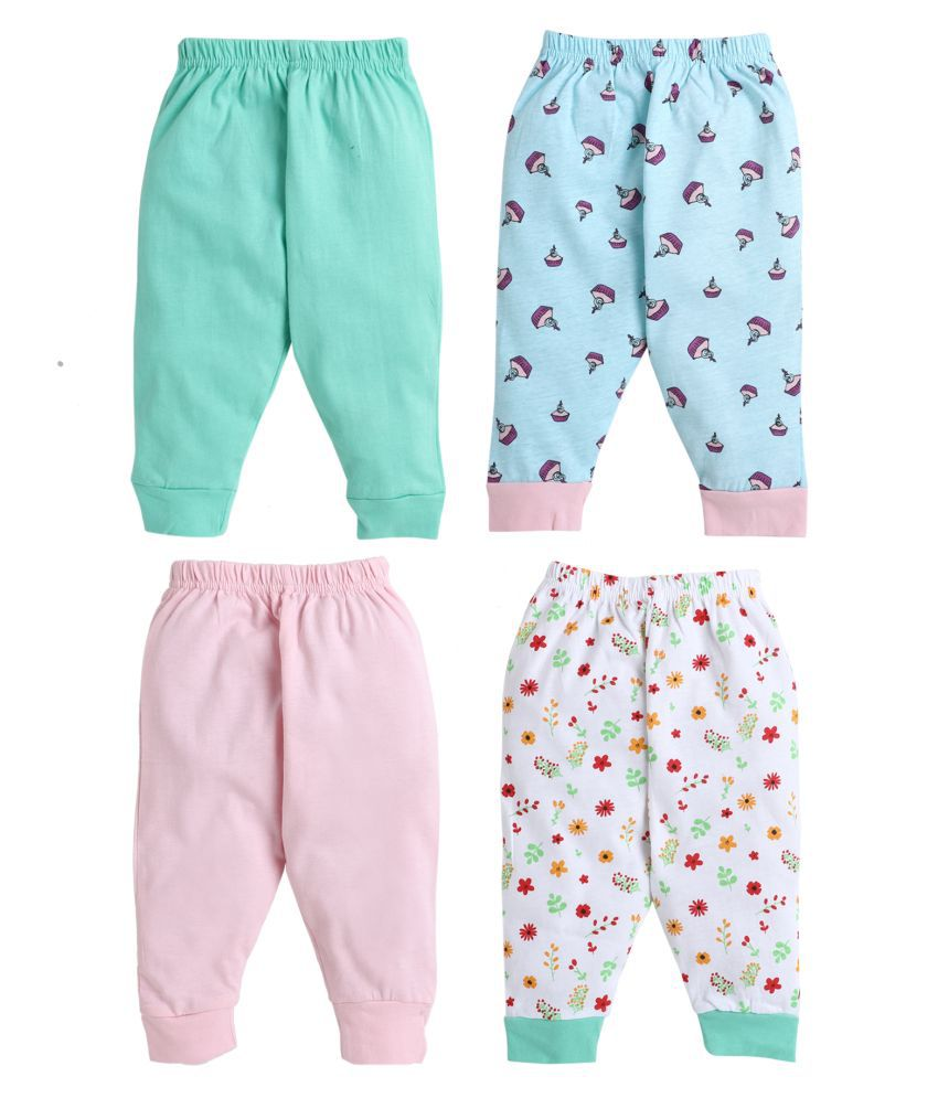 BUMZEE Green.Pink Full Length Pajamas For Baby Girls Pack Of 4 Age - 3-6 Months