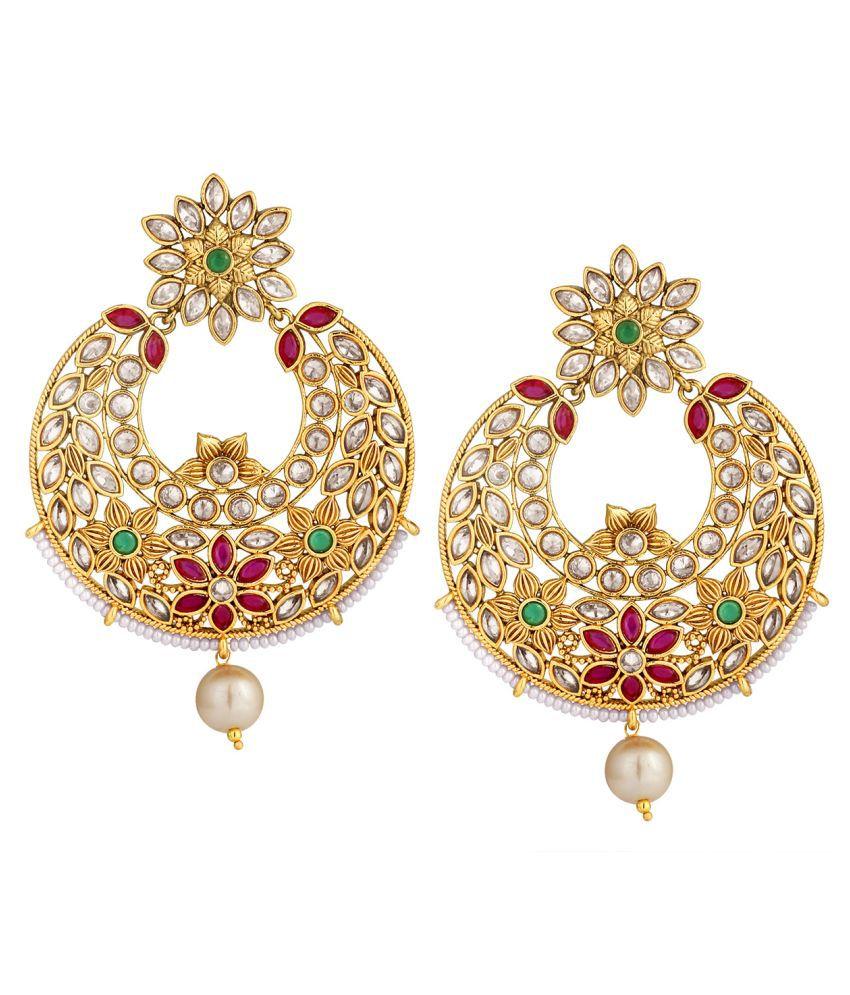 Spargz Wedding Brass Multicolor Gold Plated Matte Finish American Diamond Chandbali Earring AIER 1026