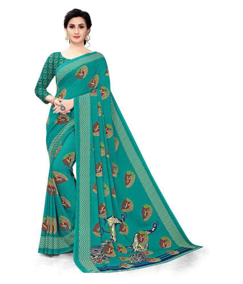 Bhakarwadi Blue Georgette Saree - Single