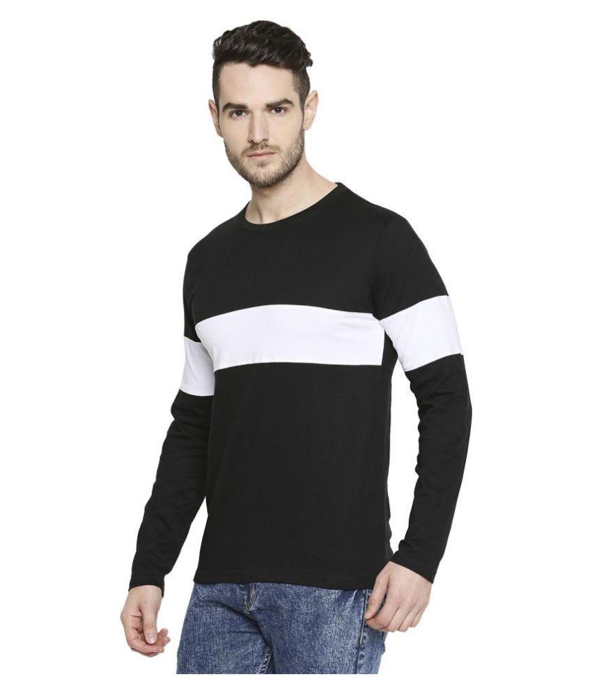 Jhankhi 100 Percent Cotton Black Color Block T-Shirt Single Pack