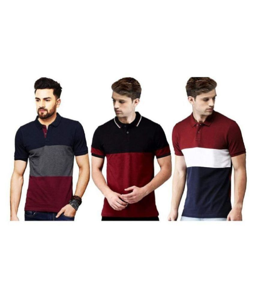 Leotude Red Color Block Polo T Shirt Pack of 3