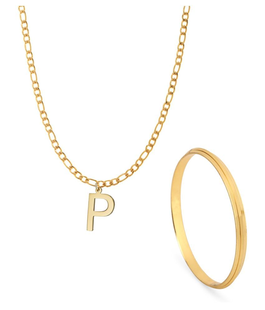 GoldNera Name Initial Letter P Pendant Necklace Combo with Kada (2.12 Size) For Men Boys