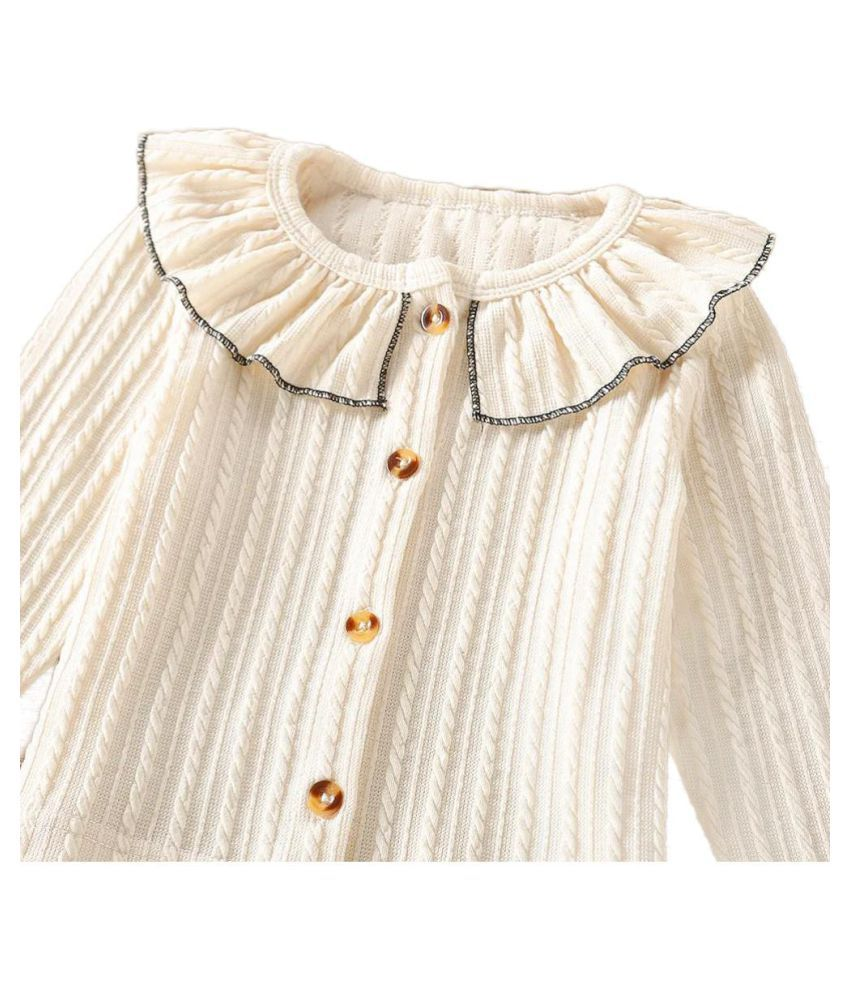 Hopscotch Girls Cotton Long Sleeves Solid Sweater in Beige Color For Ages 4-5 Years (EWE-3753758)