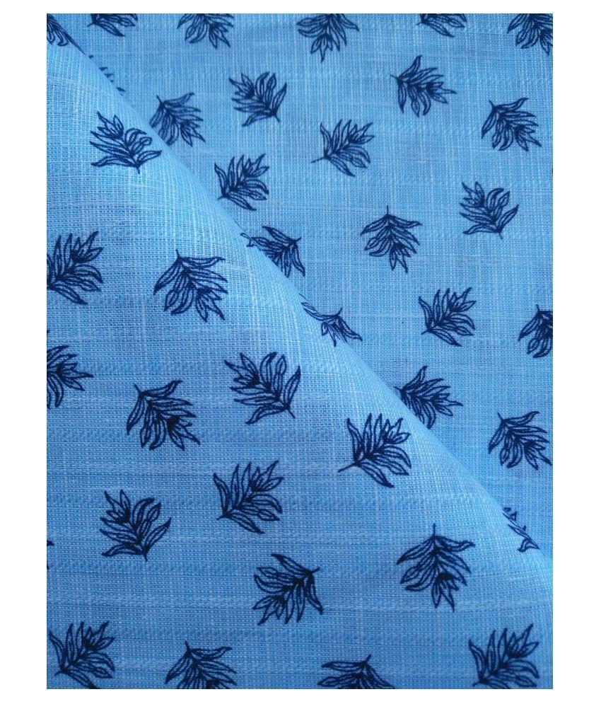 Makhanchor Blue 100 Percent Cotton Unstitched Shirt pc Singal