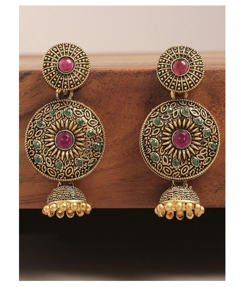 Fabula Jewellery Antique Gold Tone Red & Green Kemp Stone South Indian Jhumka Earrings for Women & Girls