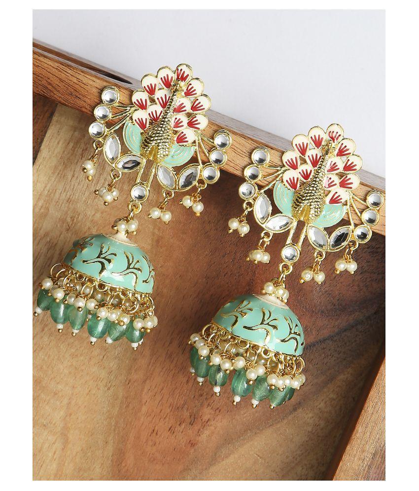Fabula Jewellery Green Meenakari Enamel Kundan Peacock Design Jhumka Earrings For Women & Girls